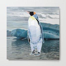 Gentleman in Waiting - Mosaic Penguin Metal Print
