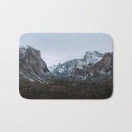 Snow in Yosemite Valley Bath Mat
