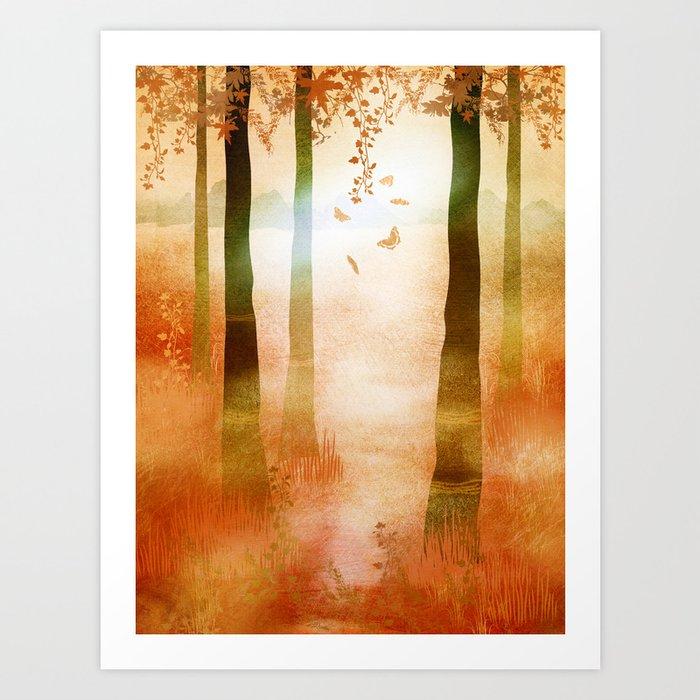 sunrise in autumn Art Print