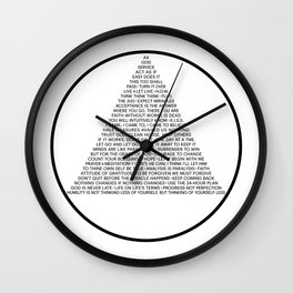 Alcoholics Anonymous Symbol in Slogans Wall Clock