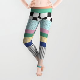 Stripes Mixed Print and Pattern with Color blocking Leggings