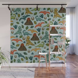 Dinosaur Print, Dino, Jurassic, Jurassic Art, Fossils, Volcanos, T-Rex, Light Blue Wall Mural