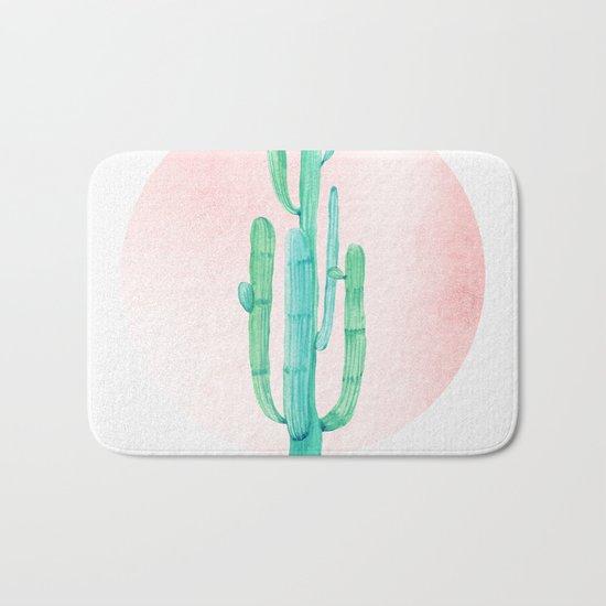 Desert Cactus Green with Rose Gold Sun Bath Mat