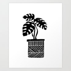 Linocut cheese plant monstera tropical leaf lino print black and white illustration art home dorm  Art Print