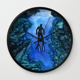 Scuba diver - alcohol ink Wall Clock