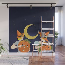 Vintage Halloween Costume Party Pumpkin Carving Wall Mural