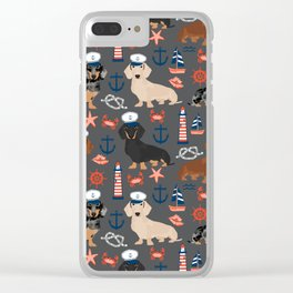 Dachshund nautical sailor dog pet portraits dog costumes dog breed pattern custom gifts Clear iPhone Case