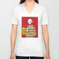 mozart V-neck T-shirts featuring Wolfgang Amadeus Mozart by Marko Köppe