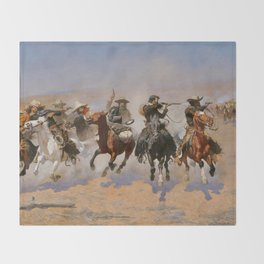 A Dash for the Timber - Frederic Remington Throw Blanket