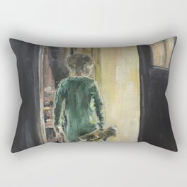 Waiting for a miracle Original oil painting on canvas Impressionism Artwork Rectangular Pillow