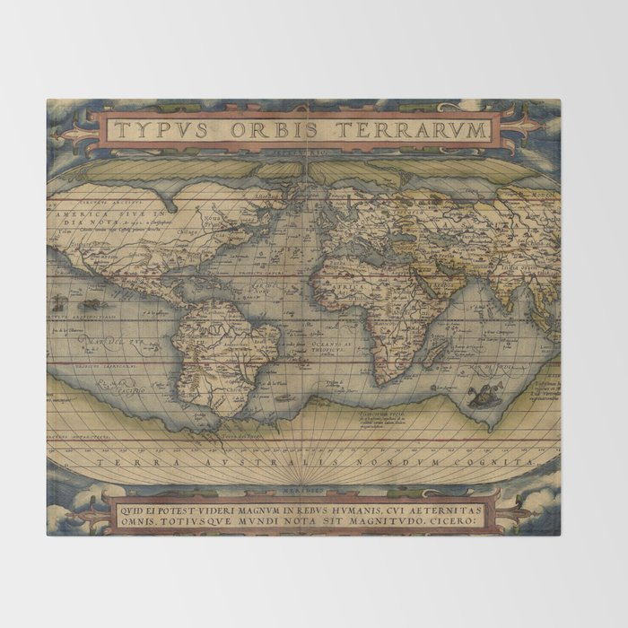 Antique Map of North and South America Throw Blanket