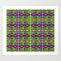 Blue Green Tile 2 Art Print