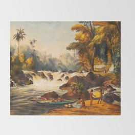 Illustrations Of Guyana South America Natural Scenes Hand Drawn Throw Blanket