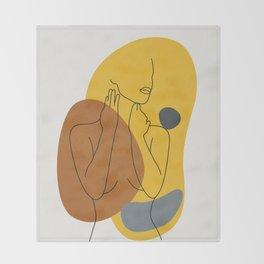 Minimal Line Art Woman Figure III Throw Blanket