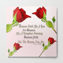 Red, Rose And pink With Quote Metal Print