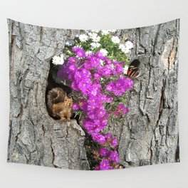 Flowering Vygies and a Squirrel in a tree Wall Tapestry