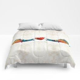 Snail Art - Love Grows Here - By Sharon Cummings Comforters