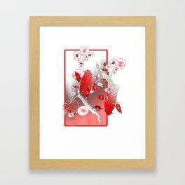 Japanese Koi Carp Nishikigoi Fish Cherry Blossom Framed Art Print