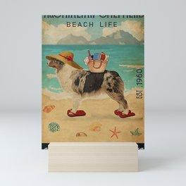 Beach Life Sandy Toes Australian Shepherd Mini Art Print