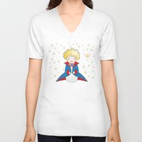little prince V-neck T-shirts featuring Kokeshi The little prince by Pendientera
