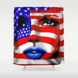 Usa Flag on Girl's Face Shower Curtain