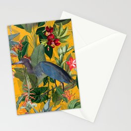 Vintage & Shabby Chic - Sunny Tropical Garden Blue Heron Stationery Cards