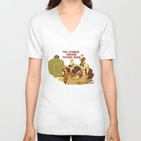 rocky horror picture show V-neck T-shirts featuring The Avenger Horror Picture Show by Leigh Lahav