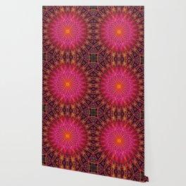 Mandala in red, orange in pink tones Wallpaper