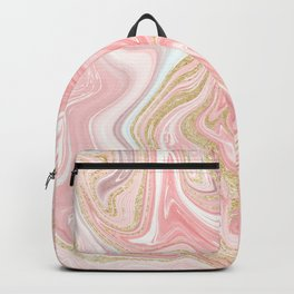 Modern pink coral marble gold glitter pattern Backpack