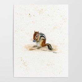"""Chippy"" Chipmunk - animal watercolor painting Poster"