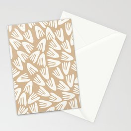 Papier Découpé Abstract Pattern in Off-White and Natural Wood Beige Stationery Cards