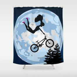 Doll Riding A BMX - ET Style - With Pink Stilettos! Shower Curtain