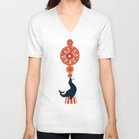 seal V-neck T-shirts featuring Circus Seal by Picomodi