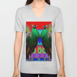 GREEN PEACOCKS & RED-PURPLE  MODERN ART Unisex V-Neck