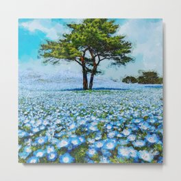 Fields of Blue Poppies floral landscape painting Metal Print