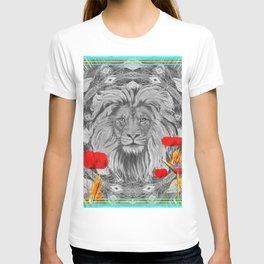 Lion Geometric Floral Contrast Print T-shirt