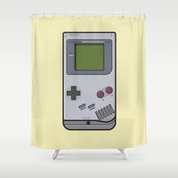 gameboy Shower Curtains featuring #44 Nintendo Gameboy by Brownjames Prints