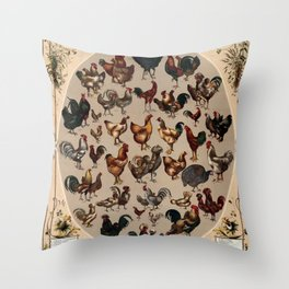 Poultry of the world Affiche Throw Pillow