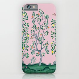 Citrus Grove Chinoiserie Mural in Pink iPhone Case