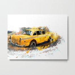 Yellow taxi Metal Print