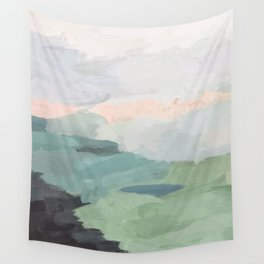 Seafoam Green Mint Black Blush Pink Abstract Nature Land Art Painting Wall Tapestry