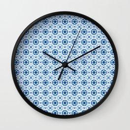 Chinoiseries Porcelain Tiles Blue Wall Clock