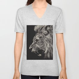 Angry Male Lion Unisex V-Neck