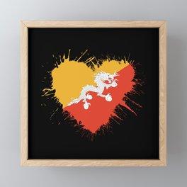 Bhutan Heart Flag Framed Mini Art Print