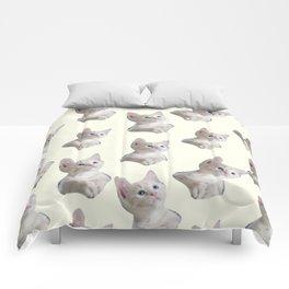 cute girly chic beige white cat pattern Comforters