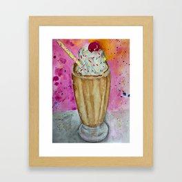 chocolate milkshake food with sprinkles Framed Art Print