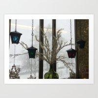 Lanterns in the Snow Art Print
