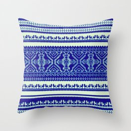 nordic pattern with singing birds in blue Throw Pillow