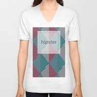 hipster V-neck T-shirts featuring Hipster by eARTh