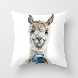Llama Latte Throw Pillow